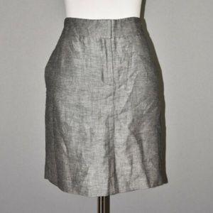 LOFT Gray Linen Pencil Skirt NEW